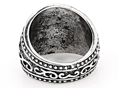 Silver Tone Oxidized Mens Ring