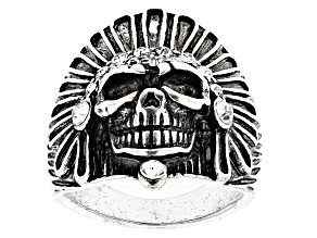 Crystal Skull Silver Tone Oxidized Mens Ring
