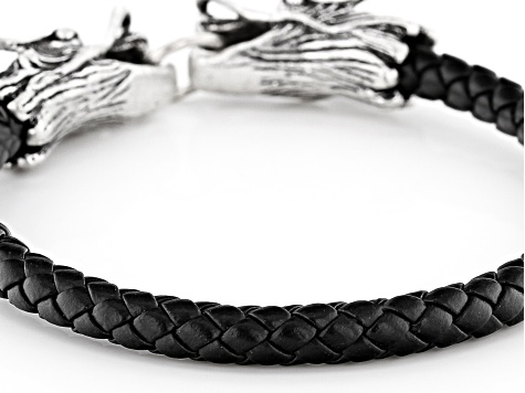 Black Genuine Leather And Silver Tone Mens Bracelet