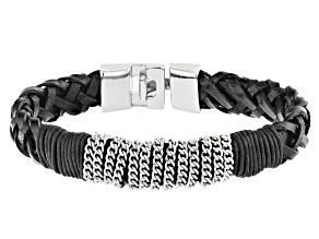Leather And Silver Tone Mens Braided Bracelet