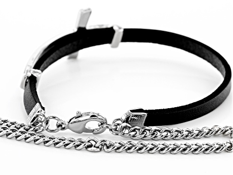 Black Genuine Leather Silver Tone Mens Cross Bracelet