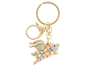 Multi Color Crystal Gold Tone Flying Pig Key Chain