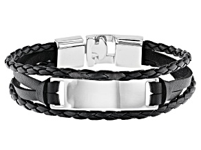 Leather And Silver Tone Multi-Row Men's Bracelet