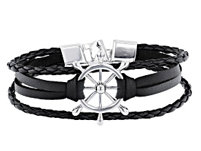 Black Leather And Silver Tone Multi-Row Mens Bracelet