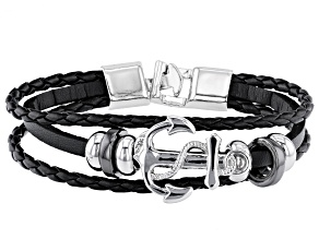 Black Leather And Silver Tone Anchor Mens Bracelet