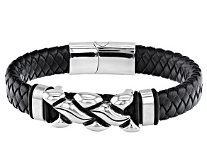 Black Bradied Leather And Silver Tone Mens Bracelet.