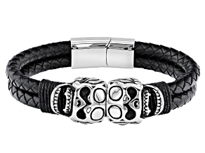 Silver Tone Leather Mens Skull Bracelet