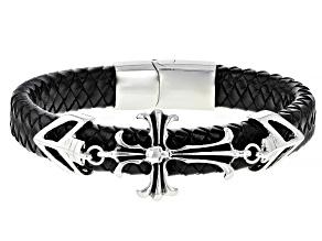 Silver tone Cross Braided Leather Mens Bracelet