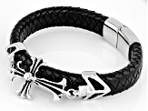 Silver tone Cross Braided Leather Mens Bracelet