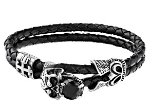 Black Crystal With Black Leather Silver Tone  Mens Skull Bracelet