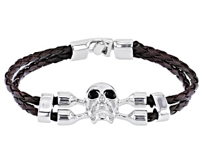 Black Crystal With Brown Leather Silver Tone Mens Skull Bracelet