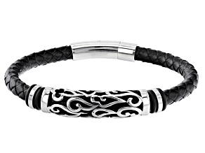 Black Braided Leather And Silver Tone Mens Bar Bracelet