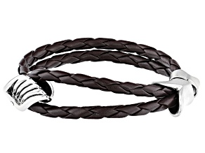 White Crystal Braided Brown Leather Silver Tone Mens Bracelet