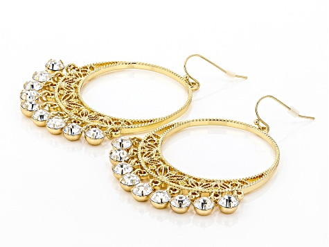 Gold Tone White Crystal Earrings