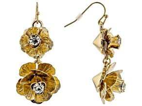 Gold Tone White Crystal Flower Earrings