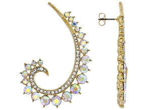 Gold Tone Iridescent Crystal Earrings