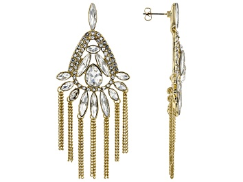 Picture of Gold Tone White Crystal Dangle Earrings