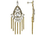 Gold Tone White Crystal Dangle Earrings
