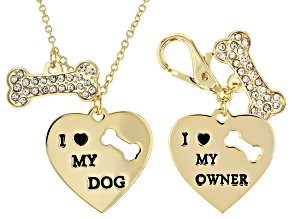 """I Heart My Dog"", Gold Tone Pet Heart Tag & Necklace"