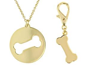 Gold Tone Dog Bone Necklace & Matching Dog Tag