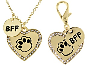 Pet Set Best Friends, Gold Tone Pet Heart Tag & BFF Charm Necklace