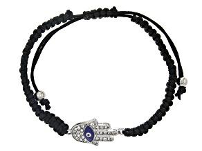 Multi-color Crystal Evil Eye Silver Tone With Adjustable Cord Bracelet