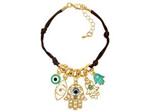 White Crystal, Multi Color Enamel Gold Tone Evil Eye Charm Bracelet