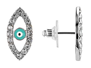 White Crystal Evil Eye Silver Tone Stud Earrings