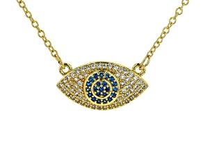 Multi-color Crystal Gold Tone Evil Eye Necklace