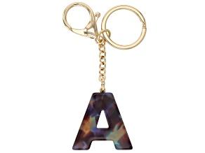 Blue Resin A Initial Gold Tone Key chain