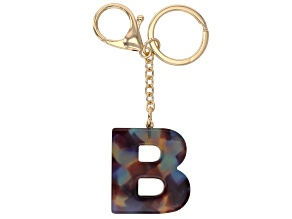 Blue Resin B Initial Gold Tone Key chain