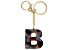 "Blue Resin ""B"" Initial Gold Tone Key chain"