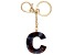 "Blue Resin ""C"" Initial Gold Tone Key chain"