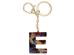 Blue Resin E Initial gold Tone Key chain
