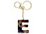 "Blue Resin ""E"" Initial gold Tone Key chain"