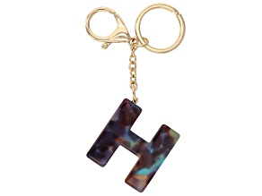 Blue Resin H Initial Gold Tone Key chain