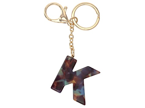 "Blue Resin ""K"" Initial Gold Tone Key chain"
