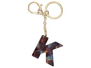 Blue Resin K Initial Gold Tone Key chain