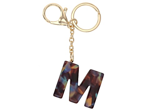 "Blue Resin ""M"" Initial Gold Tone Key chain"