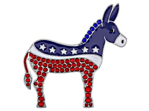 Red and Blue Crystal Silver Tone Donkey Brooch