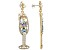Multi Color Crystal Gold Tone Champagne Glass Earrings