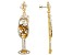 White And Yellow Crystal Gold Tone champagne glass earrings