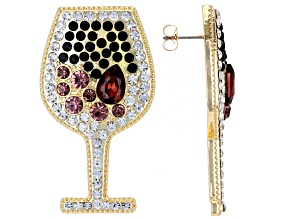 Multi Color Crystal Gold Tone Wine Glass Earrings