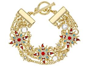 Multi Color Crystal Gold Tone Starburst Bracelet