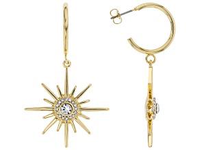 White Crystal Gold tone Star Earrings