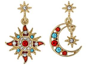 Multi Color Crystal Gold tone Star & Moon Earrings