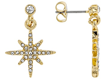 Picture of White Crystal Gold tone Star Stud Earrings