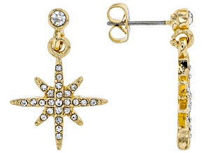 White Crystal Gold tone Star Stud Earrings