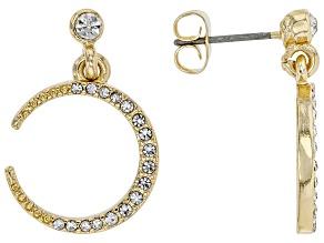 White Crystal Gold tone Moon stud Earrings