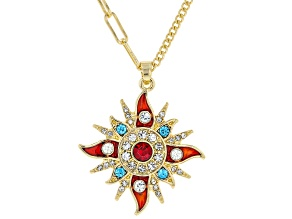 Multi Color Crystal Gold tone Starburst Necklace